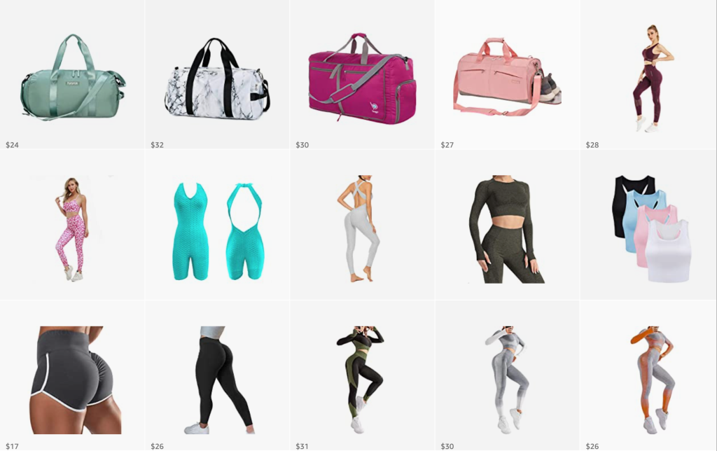 amazon shopping, gym bags, activewear